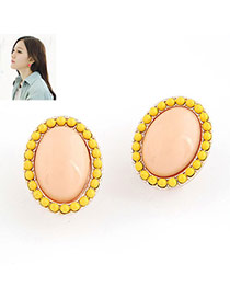 pink sweety ellipse shape alloy Stud Earrings
