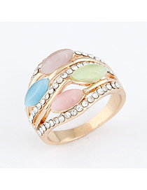 gold color elegant 4 Opal design alloy Korean Rings