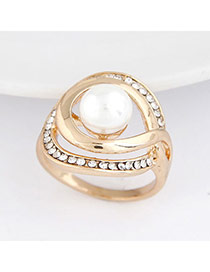 white simple pearl design alloy Korean Rings