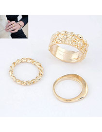 gold color rose hollow design alloy Korean Rings