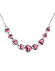 2013 Plum Red 9 Hearts Design Alloy Crystal Necklaces