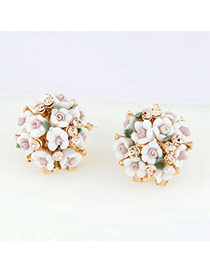 High Waist White Blink Flowers Ol Design Alloy Stud Earrings