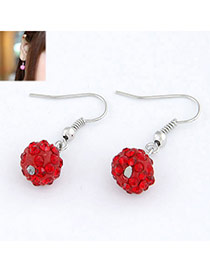 Varsity Red Blink Ball Design Alloy Korean Earrings