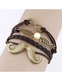 Stretch Brown Moustache Wings Design