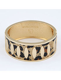 Boxed Leopard Punk Circle Design Alloy Fashion Bangles