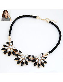 Eco Black Flower Rope Design Alloy Bib Necklaces