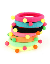 Bendable Color Will Be Random Little Ball Decorate Design Rubber Band Hair band hair hoop