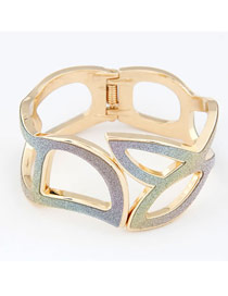 Deathly Multicolor Hollow Out Leaf Design Alloy Fashion Bangles
