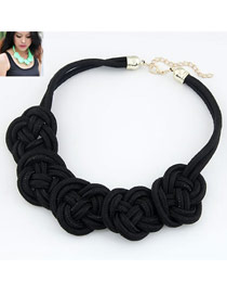 Slim Black Flower Weave Pendant