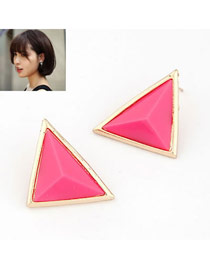 Exquisite Plum Red Sweet Triangle Shape Alloy Stud Earrings