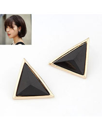 Chiropract Black Sweet Triangle Shape Alloy Stud Earrings