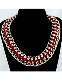 Tattoo Red Luxury Simple Weave Chain Design Alloy Fashion Necklaces
