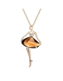 Direct Coffee Ballet Dancer Pendant Glass Crystal Necklaces