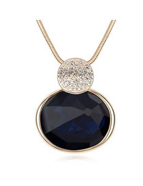 Softshell Blue Black Oval Shape Pendant Glass Crystal Necklaces