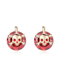 Online Red Skull Spirit Design Zircon Crystal Earrings