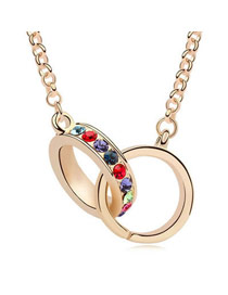 Mobile Multicolor Elegant Circles Design Austrian Crystal Crystal Necklaces