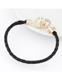 Dickie Black Double Open Weave Design Alloy Korean Fashion Bracelet
