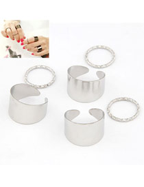 Fashion Silver Color Diamond Decorated Irregular Shape Simple Ring(6pcs)