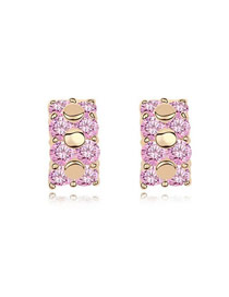 Autism Pink Simple Circle Pot Design Zircon Crystal Earrings