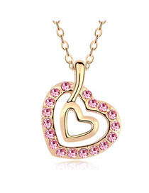 Boxed Light Pink Heart In Heart Design Austrian Crystal Crystal Necklaces