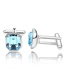 Stretch Sea Blue Simple Octagon Shape Design Austrian Crystal Crystal Brooches
