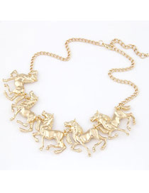 Rhinestone Gold Color Elegant Horses Design