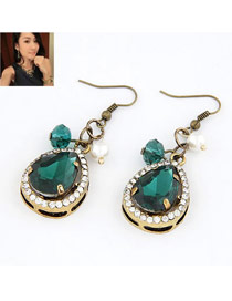 Imitation Navy Blue Simple Drop Shape Alloy Korean Earrings
