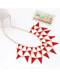 Personaliz Red Elegant Triangle Shape Alloy Bib Necklaces