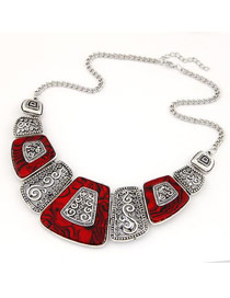Magnifying Red Simple Geometry Shape Alloy Bib Necklaces