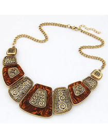 Arrowhead Brown Simple Geometry Shape Alloy Bib Necklaces