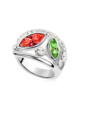 Postal Multicolor Simple Double Gemstone Design Austrian Crystal Crystal Rings