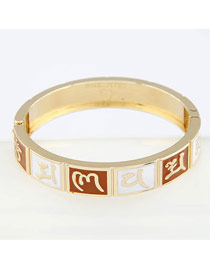 Crucifix Brown Six Words Style Alloy Fashion Bangles