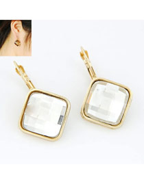 Blank White Square Shape Design Alloy Stud Earrings