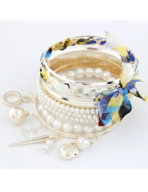 Huge Blue Bowknot Pearl Multilayer Alloy Fashion Bangles