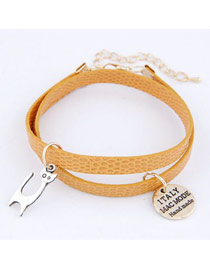 Vintage Orange Cat Multilayer Ccb Korean Fashion Bracelet