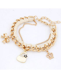 Quilted White Crown Bow Bag Design Alloy Fashion Anklets
