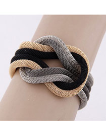 Candy Color Brown Beads Decorated Multilayer Design Alloy Korean Fashion Bracelet