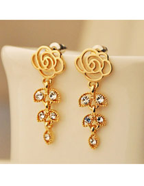 22K Gold Rose And Leaft Shape Design Alloy Korean Earrings