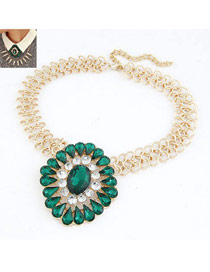 Masonic Green Gemstone Drop Shape Design Alloy Korean Necklaces