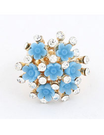 Beige Sky Blue Flower Diamond Design Alloy Korean Rings