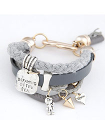 Fall Gray Multielement Decorated Multilayer Design Ccb Korean Fashion Bracelet