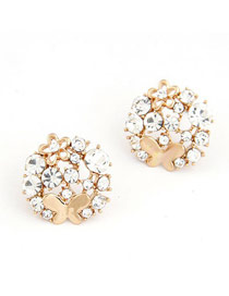 22K Gold Color Bright Diamond &Butterfly Decorated Alloy Stud Earrings