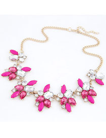 Bridal Plum Red Geometric Shape Gemstone Decorated Alloy Bib Necklaces
