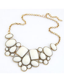 Bohemian White Various Of Geometric Shape Pendant Design Alloy Korean Necklaces