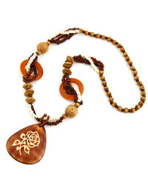 Maturnity Coffee Water Drop Shape Pendant Wood Beaded Necklaces