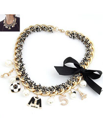 Pearl Gold Color Cross Shape Decorated Multilayer Design Alloy Chains