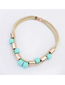 Define Light Blue Double Layer Simple Design Ccb Bib Necklaces
