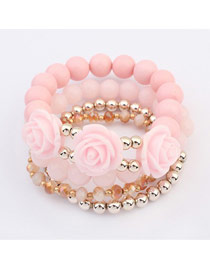 High Quali Pink Rose Decorated Design Alloy Fashion Bangles