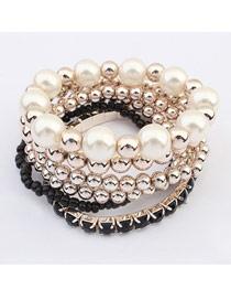 Nameplate Black Multilayer Weave Beads Design Ccb Fashion Bangles