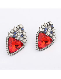 Deathly Claret-Red Heart Shape Gemstone Decorated Design Alloy Stud Earrings